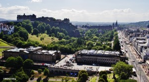 View of Edinburgh Castle and Princes Street from Sir Walter Scott Monument.